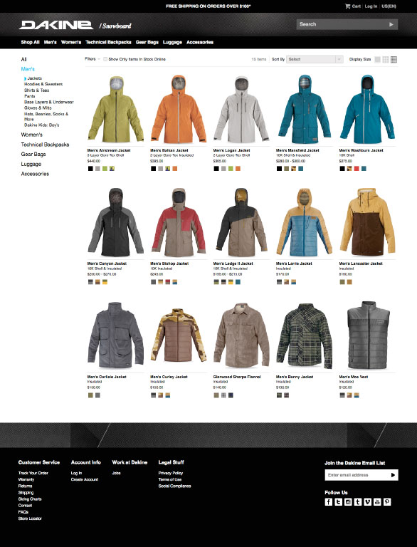 The Dakine website using Side Commerce ecommerce saas
