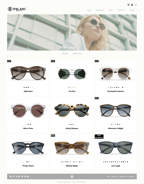 The D'Blanc website using Side Commerce ecommerce saas