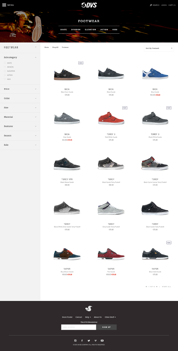 The DVS website using Side Commerce ecommerce saas