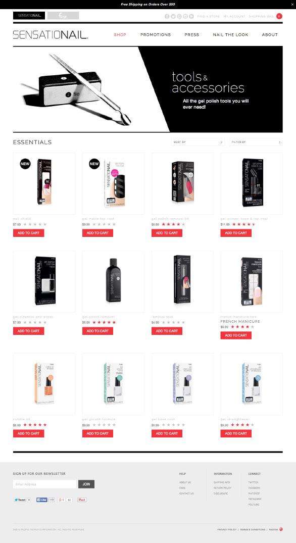 The Sensationail website using Side Commerce ecommerce saas