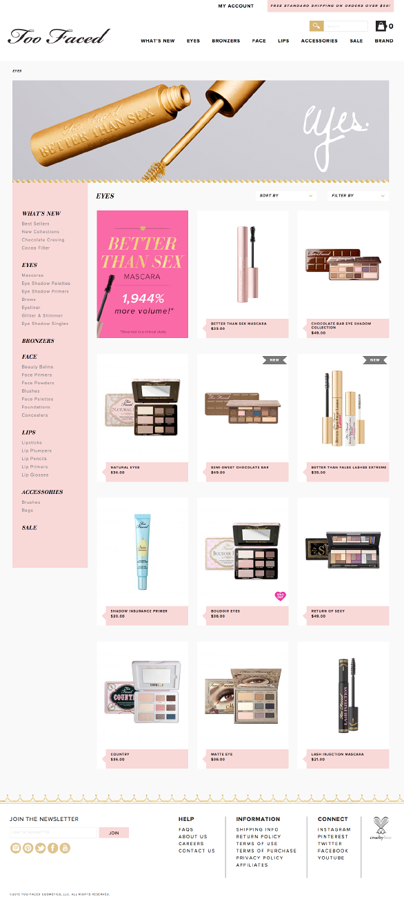 The Too Faced website using Side Commerce ecommerce saas