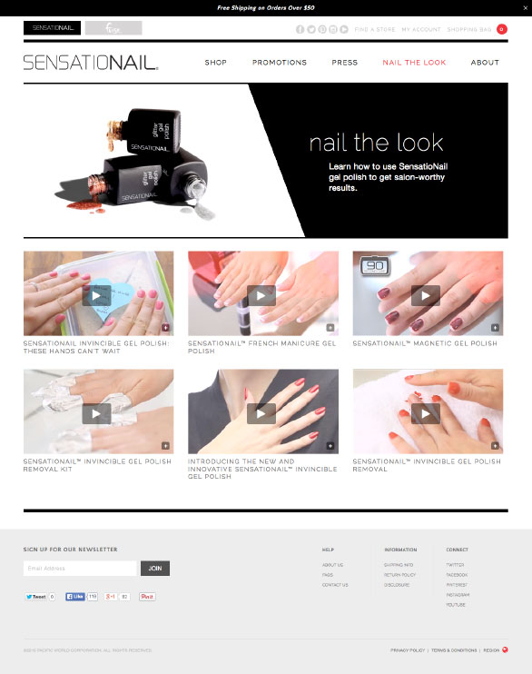 The Sensationail website using Side Commerce ecommerce saas