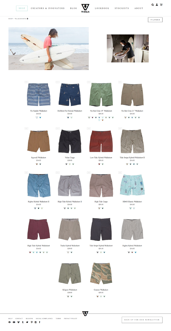 The Vissla website using Side Commerce ecommerce saas